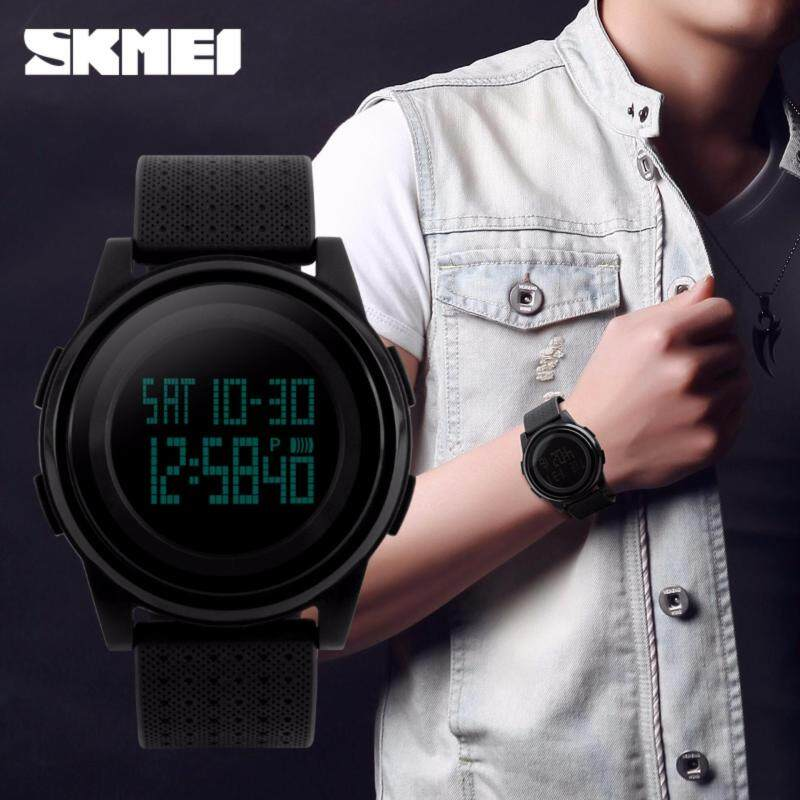SKMEI 1206 Dual Time Chronograph Alarm Waterproof Men Sports Watch[BLACK BLACK] Malaysia