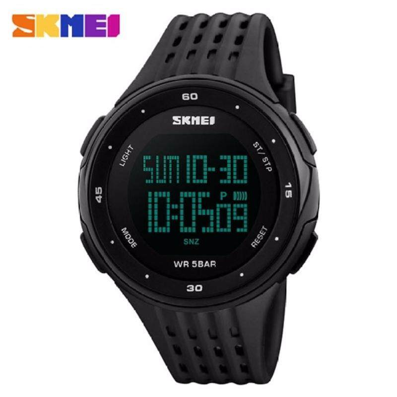 SKMEI 1219 Outdoor Sports Watch Double Time Alarm LED Digital Military Watch (Full Black) Malaysia