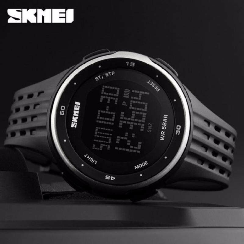 SKMEI 1219 Outdoor Sports Watch Double Time Alarm LED Digital Military Watch (Silver) Malaysia