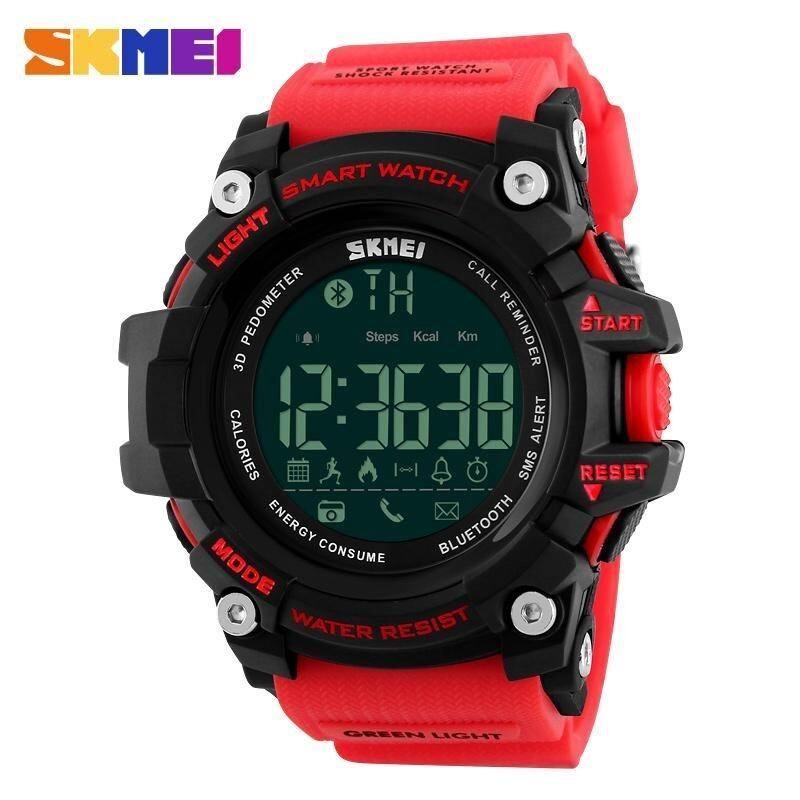 Skmei 1227 Watch Mens Sports Wristwatches Smart Pedometer Bluetooth Mens LED Alarm Waterproof Digital Watch - Red intl Malaysia