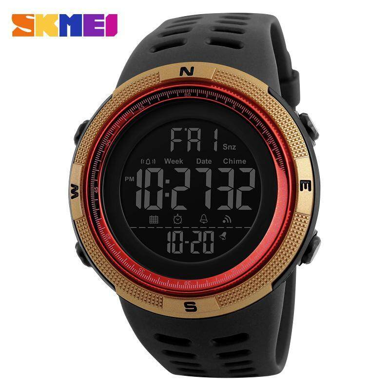 SKMEI 1251 Men Sports 50M Waterproof Countdown Double Time Watch Alarm Chrono Digital Wristwatches - Black Gold Red Malaysia