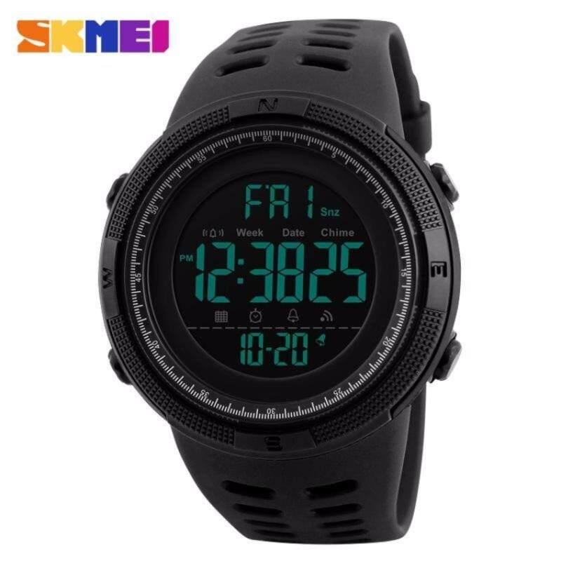 SKMEI 1251 Men Sports Watch Countdown Double Time Alarm LED Digital Watch (Full Black) Malaysia