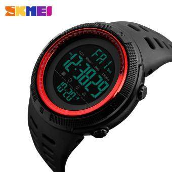SKMEI 1251 Men's Sports Watches Countdown Double Time Watch Alarm Chrono Digital Wristwatches 50M Waterproof Watches - Black Red