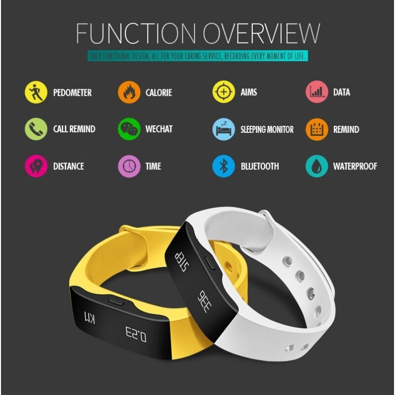 SKMEI Brand Watch Smart Wristband LED Watch Waterproof Fitness Sleep Tracker Alarm Pedometer Calorie Bluetooth 4.0 Android 4.3 IOS 7.0 L28T Malaysia