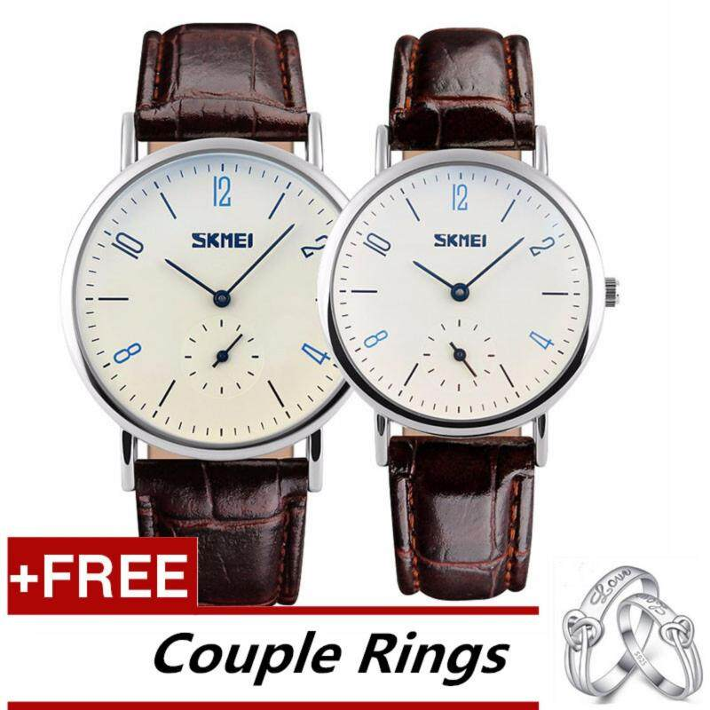 SKMEI Classic Lovers Couple Watch Women Mens Watches Quartz Waterproof Wrist Watches 9120 - Brown White +Free Adjustable Lovers Rings [Buy 1 Get 1 Free] Malaysia