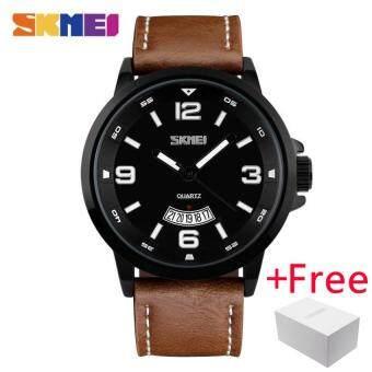 SKMEI Fashion Casual Quartz Watch Jam Tangan es Men Leather Strap Complete Calendar Watch Jam Tangan