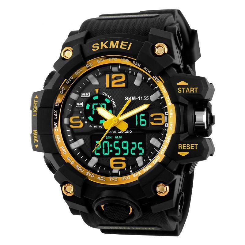 SKMEI Large Dial Shock Outdoor Sports Watch Jam Tangan es Men Digital LED 50M Waterproof Military Army Watch Jam Tangan  Alarm Chrono WristWatch Jam Tangan es 1155 Malaysia