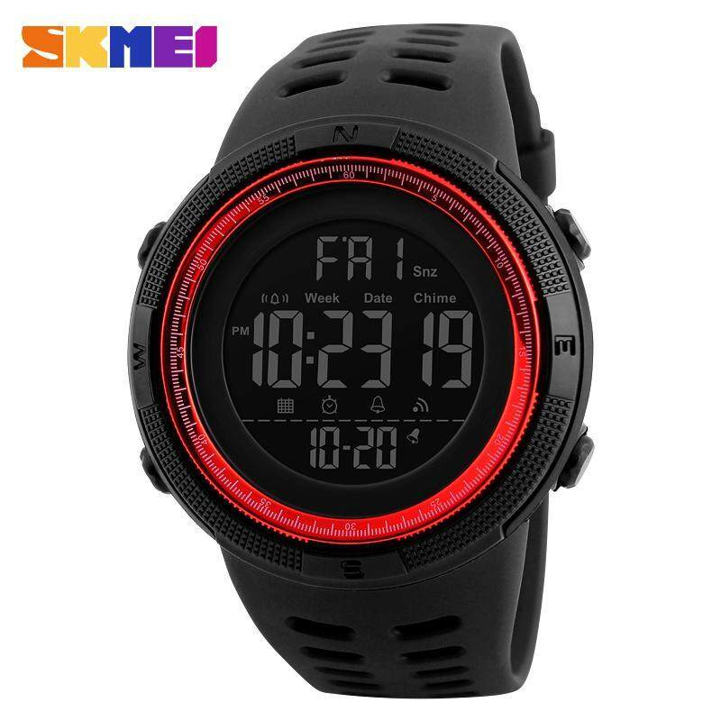 SKMEI Men Sports Watches Countdown Double Time Watch Alarm Chrono Digital Wristwatches 50M Waterproof Watches 1251 - Black Red Malaysia