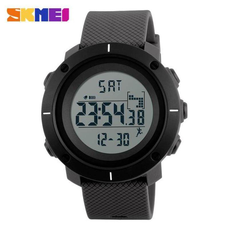 SKMEI Men Sports Watches Pedometer Calories Digital Wristwatches Chrono Back Light Repeater Waterproof 1215 - Gray Malaysia