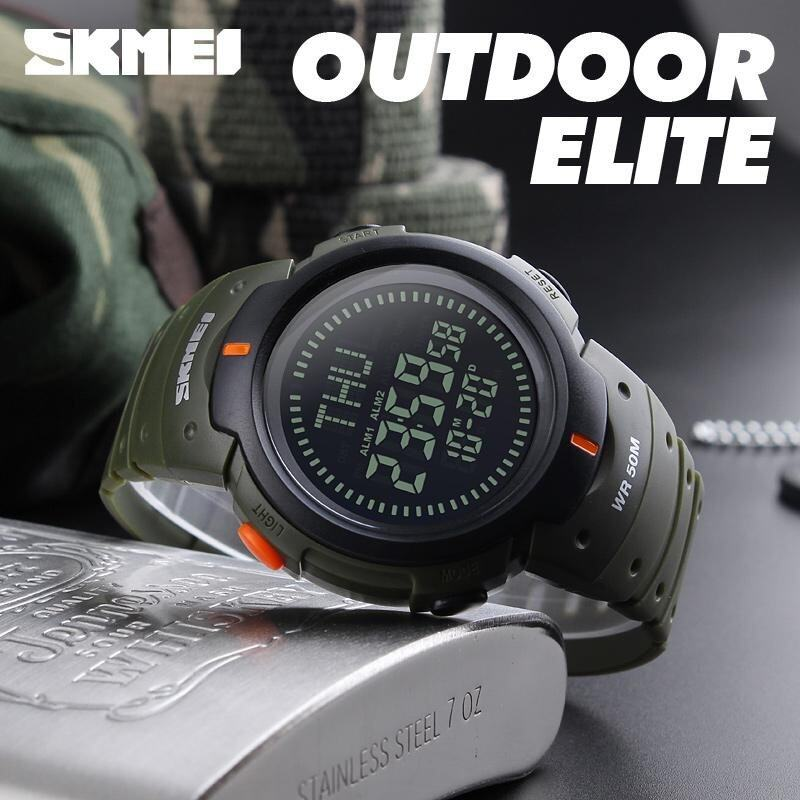 SKMEI Outdoor Man Sports Compass Watches Fashion Waterproof Watch Digital LED Chronograph - Green Malaysia