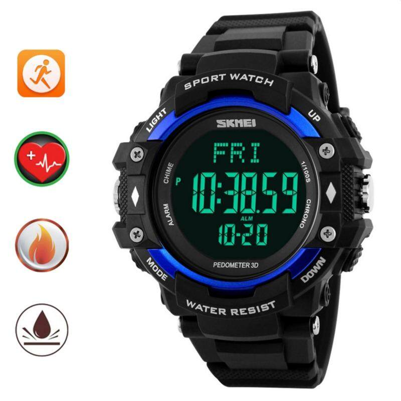 SKMEI Pedometer Heart Rate Monitor Waterproof Sports Watches Calories Counter Fitness Tracker Digital Watches Men ( Blue) Malaysia