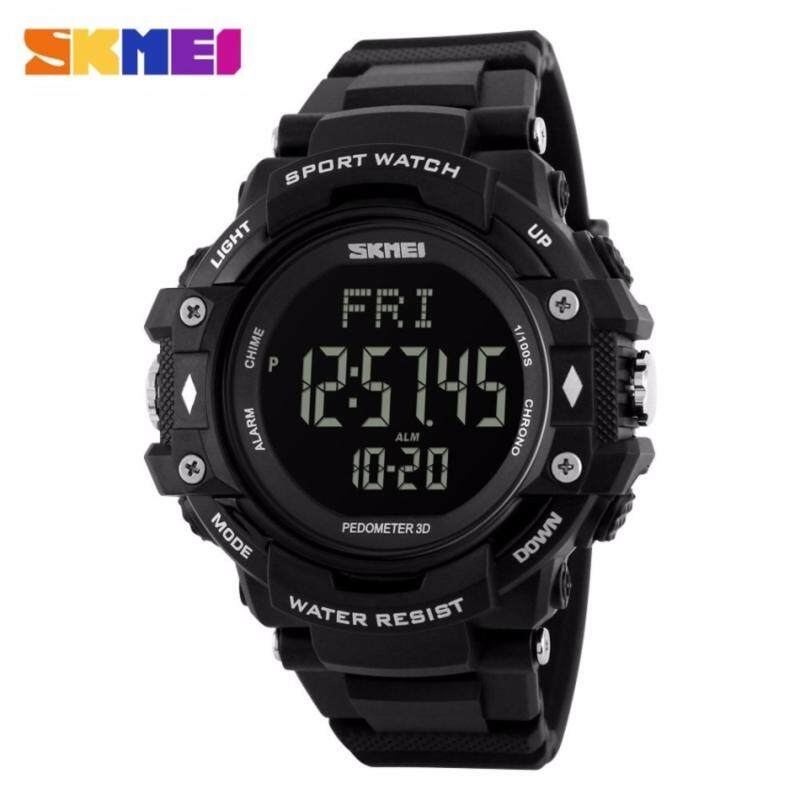 GTE SKMEI Pedometer Heart Rate Monitor Waterproof Sports Watches Calories Counter Fitness Tracker Digital Watches Men - 4 Colors Available - Black - Fulfilled by GTE SHOP Malaysia