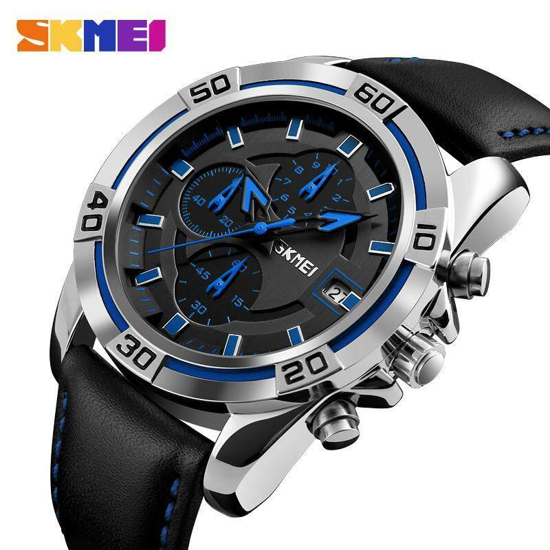 Skmei Watch Men Chronograph Auto Date Waterproof High Quality Analog Quartz Mens Soft Real Leather Strap Watches Casual Mens Wristwatches 9156 Malaysia
