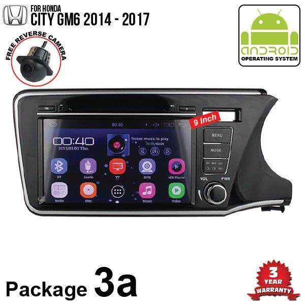 "HONDA CITY GM6 2017 - 2018 SKY NAVI 9"" FULL ANDROID Double Din GPS DVD CD USB SD BLUETOOTH IOS Mirror Link Player (Package 3a Head Rest Monitor)"