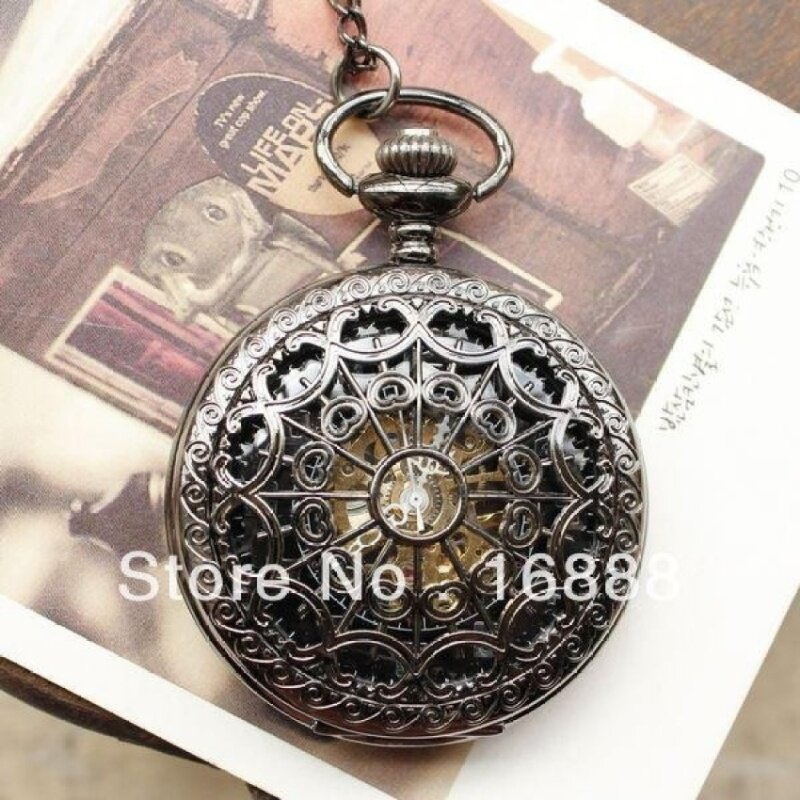 SOBUY New arrival pocket watch necklace automatic mechanical watchhand wind spide pendants men women (as pic) Malaysia