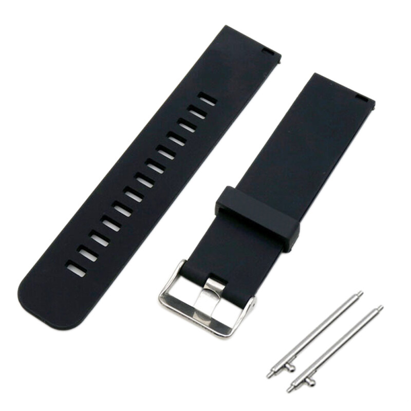 Soft Silicone Solid Color Adjustable Replacement Watchband Quick Release Needle Buckle Watch Band Metal Clasp Wrist Band Strap for 22mm Men Women Watch Accessary Black Malaysia