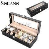 (RAYA 2019) SOKANO Premium Quality PU Leather 6 Slot Watch Jewellery Storage Container Box Gift