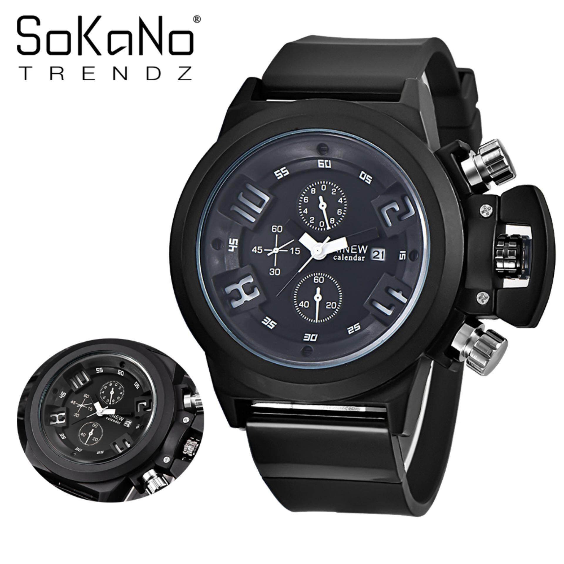 SoKaNo Trendz 7166 Men Premium Sport Watch - Black
