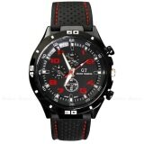 SoKaNo Trendz Red Number Military Pilot Silicone Sport Wrist Watch