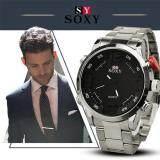 ราคา Soxy Man S Fashion Alloy Steel Belt Organic Glass Quartz Business Watch Color Main Pic ใหม่ ถูก