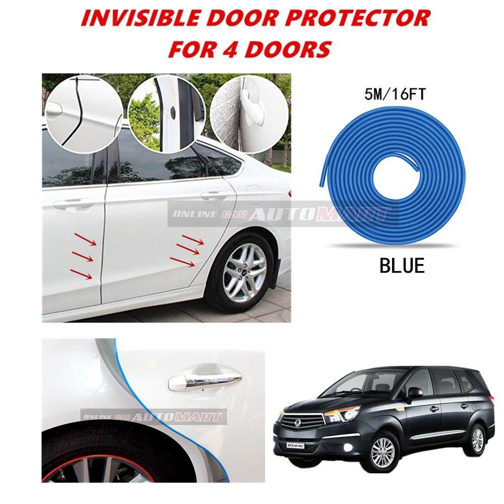 Ssangyong Stavic - 16FT/5M (BLUE) Moulding Trim Rubber Strip Auto Door Scratch Protector Car Styling Invisible Decorative Tape (4 Doors)