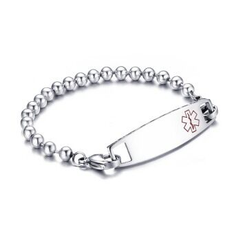 Stainless Steel Medical Alert ID Bracelet with Beads Chain Medical ID Tag