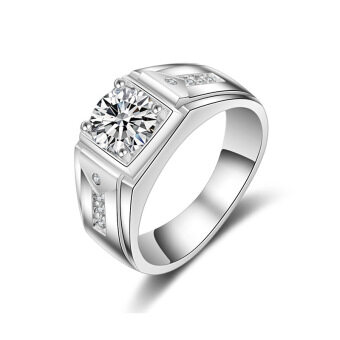 Sterling silver carat men's domineering ring sterling silver platedplatinum group inlaid simulation diamond ring men ring