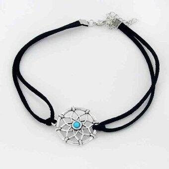 Harga Suede Dream Catcher Dangle Charm Choker Necklace Statement CollarGold Tone