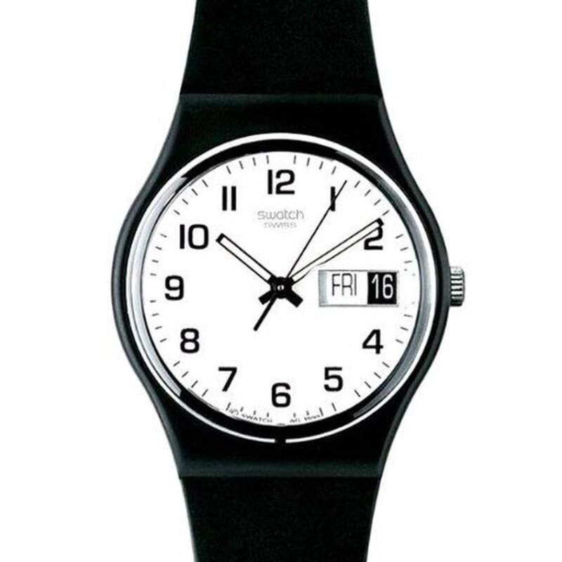 Swatch Mens Once Again Black Resin Strap Watch GB743 Malaysia