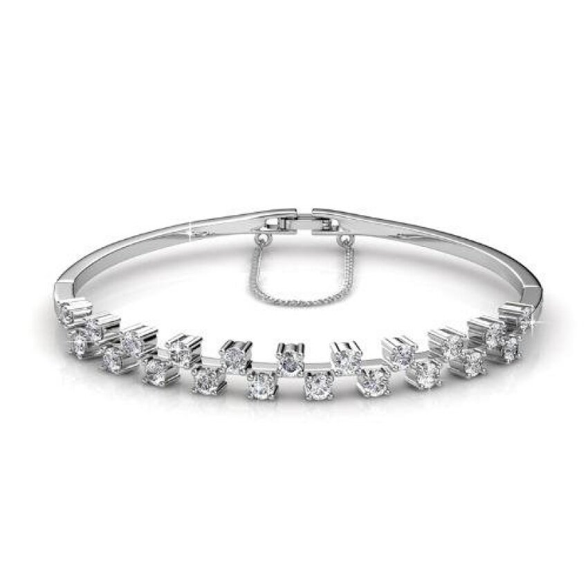 Bangle Sweet (White Gold) Embellished With Crystals From Swarovski - Her Jewellery