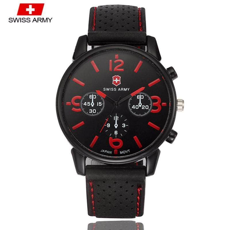 Swiss Army 1102 Military Mens Silicone Strap 3 Dial Display Fashion Sport Watch (Black Red) Malaysia