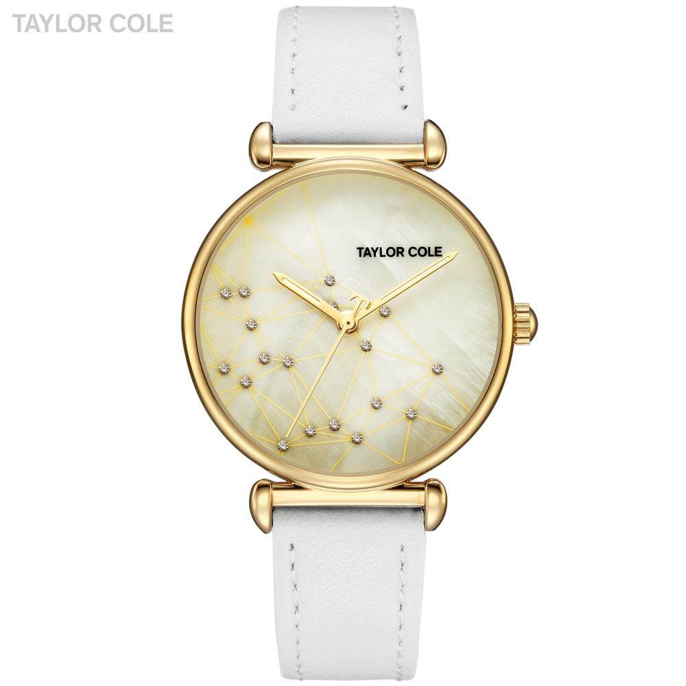 Taylor Cole Cool Style Women Watch Golden Clock Luxury Ladies Watches White Genuine Leather Band Wrist Watches for Women / TC142 - intl
