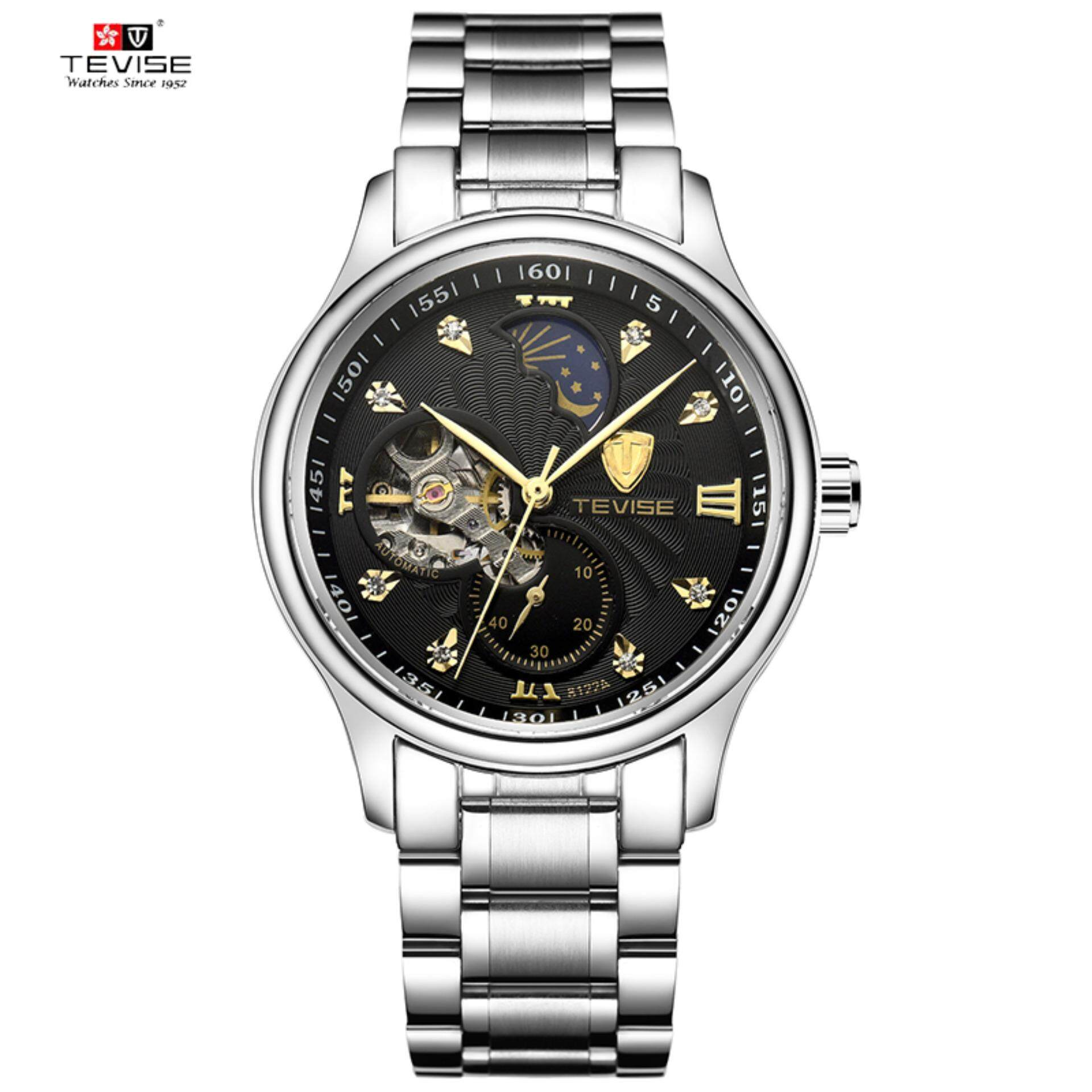 THB 1.202. Tevise Automatic Mechanical Skeleton Self Wind Wristwatch fashion Luxury Silver Gold Stainles Steel Moon Phase Classic Watch Men ...
