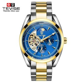 Detail Gambar Produk Tevise Luxury Brand Watch Mechanical Watch Men Business Wristwatches Automatic Watches Men Clock Blue Gold Produk Terbaru