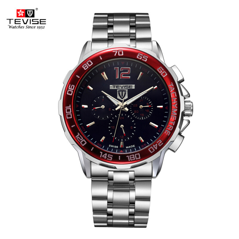 TEVISE New Arrivals Men Luxury Full Steel Discolored Glass Military Style Automatic Mechanical Unisex Watch Top Brand Luxury Multi-fuction Man Watches Self-winding Wristwatch With 3 Small Dials Malaysia