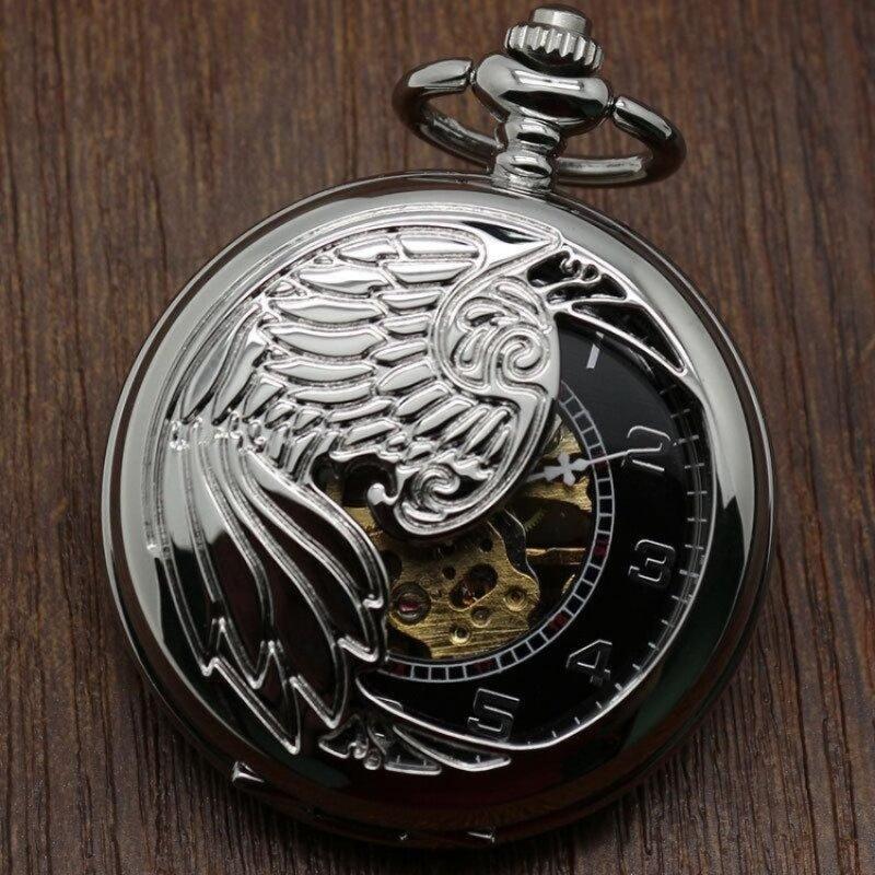tinpsy Creative mechanical watch animal phoenix pattern providespacket machine carved gold pocket watch (Grey) Malaysia