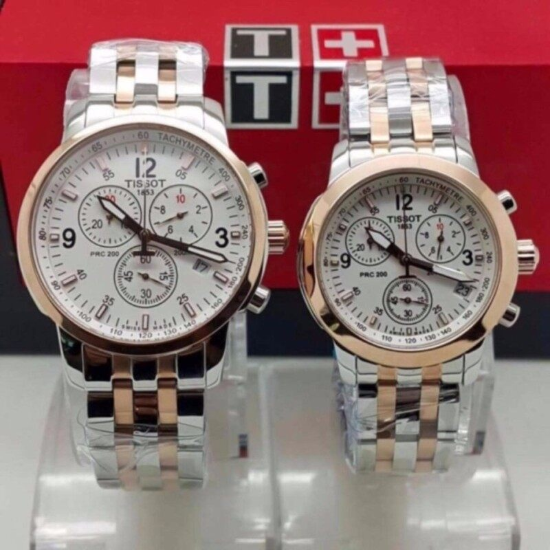 Tissot Couple Steel Silver/Gold White Dial Watch Malaysia