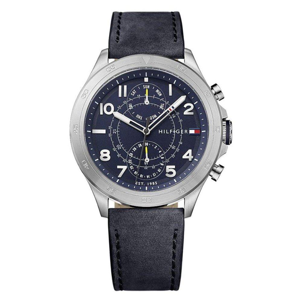 Tommy Hilfiger Watch Hudson Blue Stainless-Steel Case Leather Strap Mens NWT + Warranty 1791346
