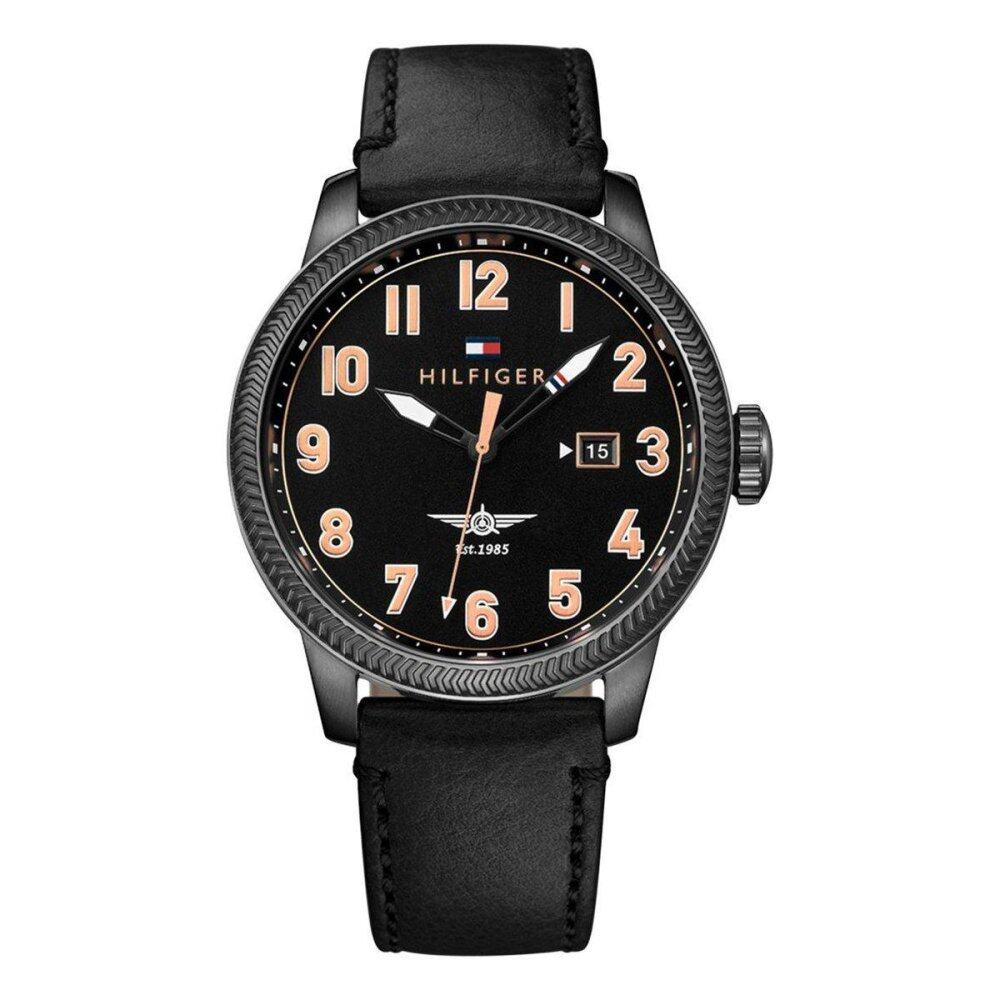Tommy Hilfiger Watch Jasper Black Stainless-Steel Case Leather Strap Mens NWT + Warranty 1791314