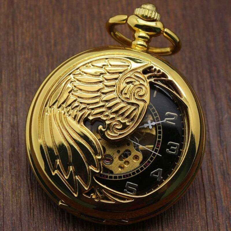 toobony Creative mechanical watch animal phoenix pattern providespacket machine carved gold pocket watch (Yellow) Malaysia