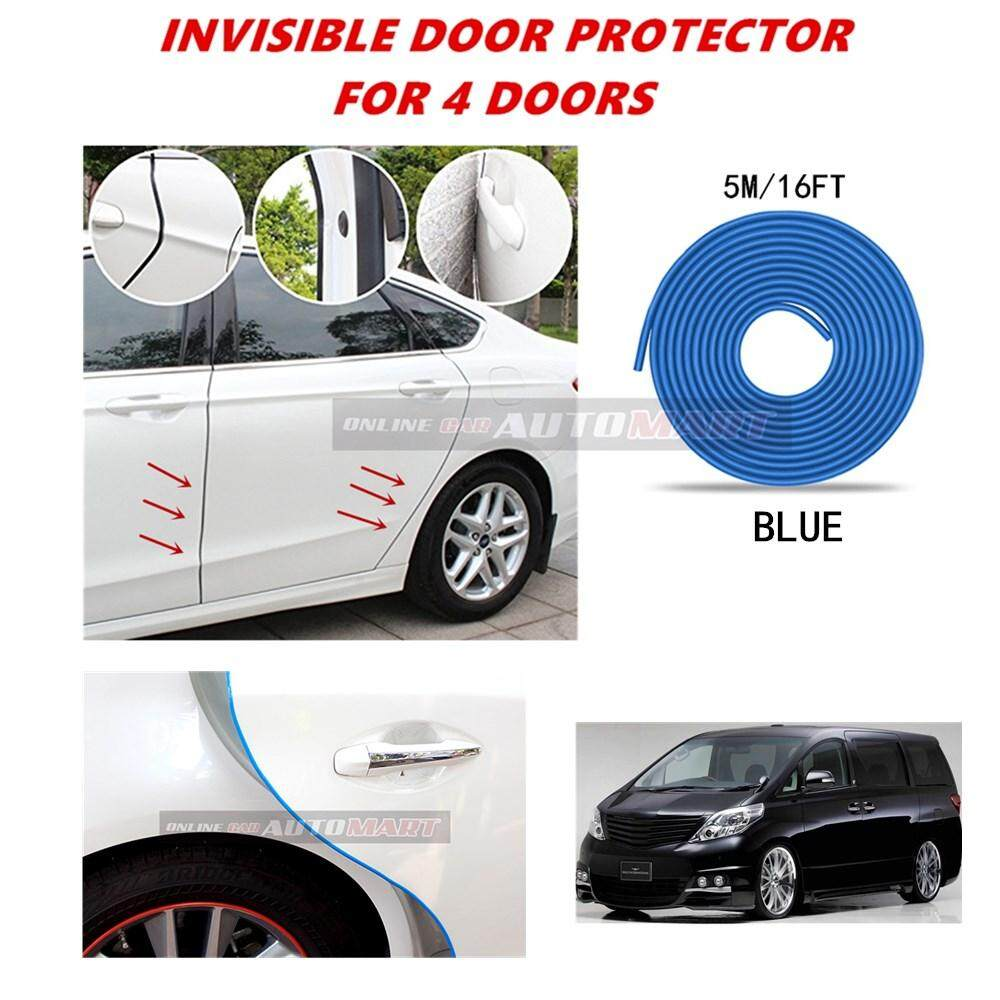 Toyota Alphard Yr 2000-2005/Alphard Yr2006-2014/Alphard Yr2015 - 16FT/5M (BLUE) Moulding Trim Rubber Strip Auto Door Scratch Protector Car Styling Invisible Decorative Tape (4 Doors)