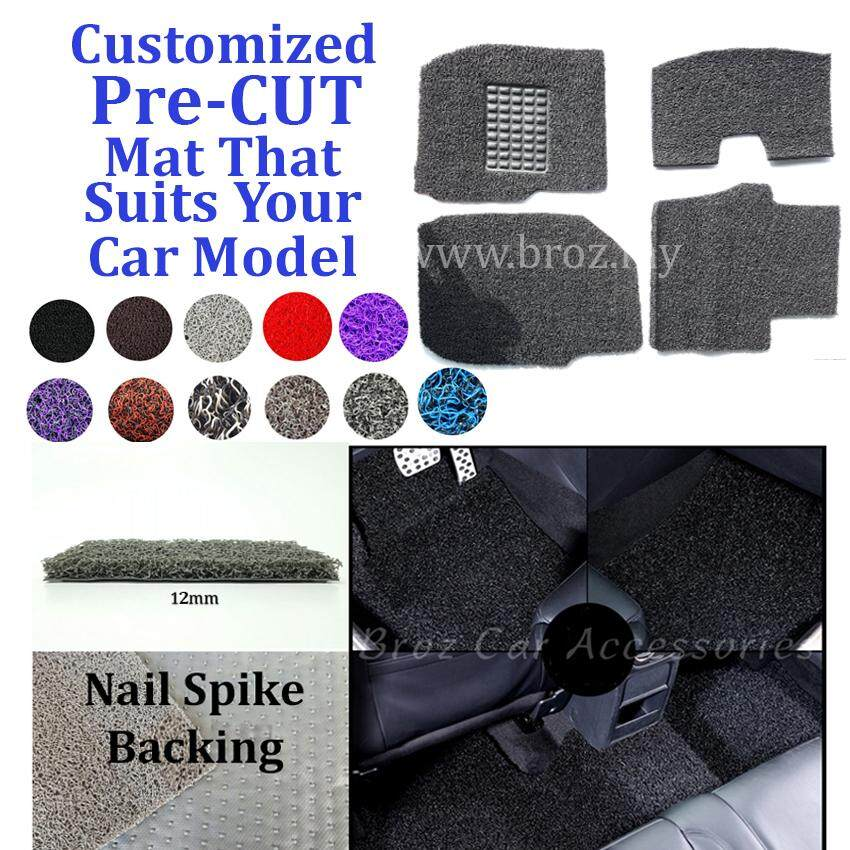 Toyota Avanza 12MM Customized PRE CUT PVC Coil Floor Mat with Driver Rubber Pad Anti Slip Carpet Nail Spike Backing - Grey + Black