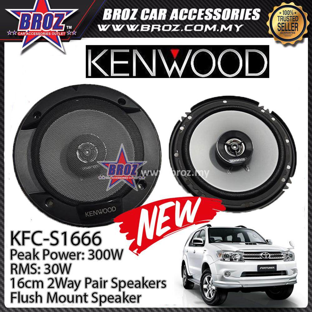 Broz Toyota Fortuner Rear Kenwood KFC-S1666 Stage Sound Series 2 Way Speakers