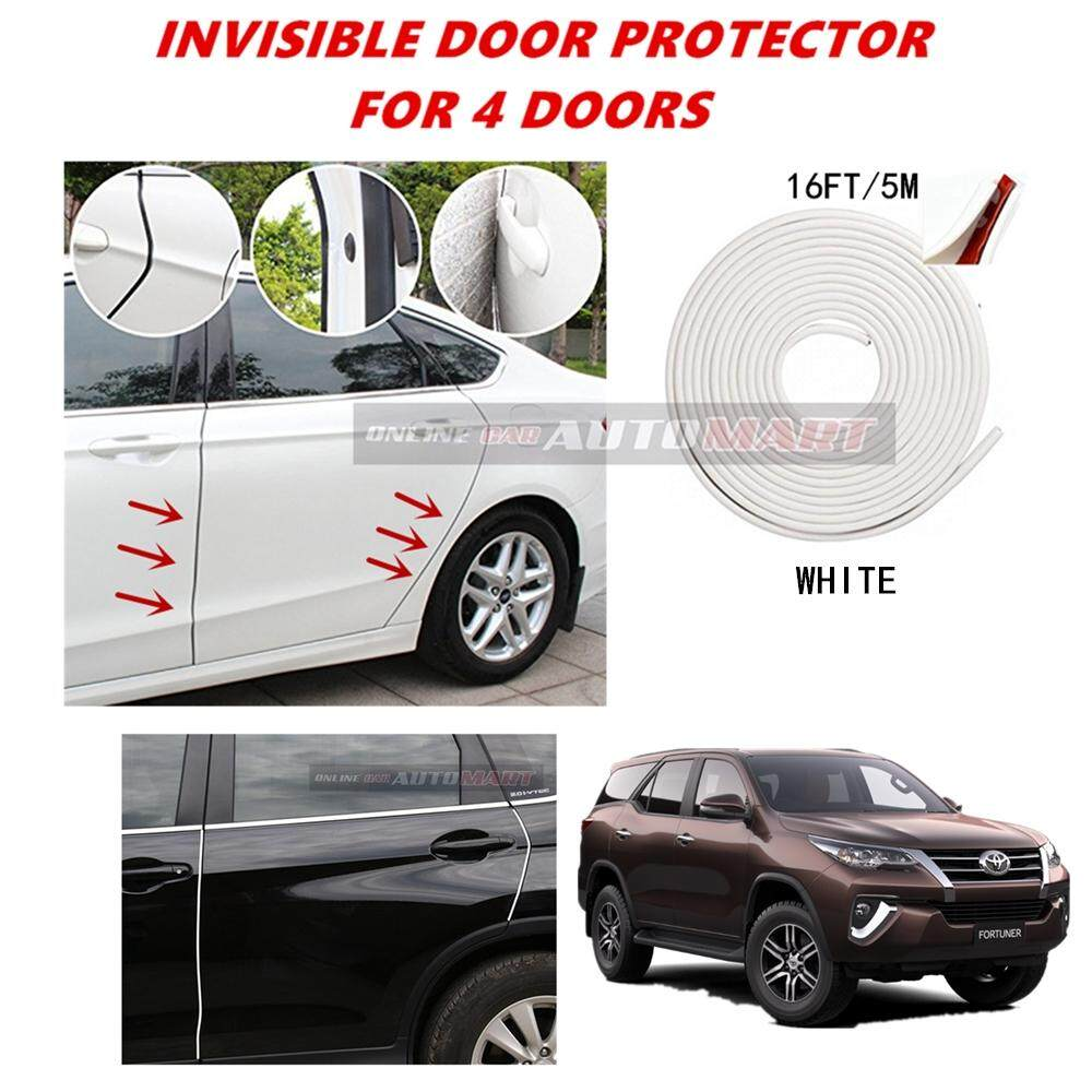 Toyota Fortuner Yr 2008 - 16FT/5M (WHITE) Moulding Trim Rubber Strip Auto Door Scratch Protector Car Styling Invisible Decorative Tape (4 Doors)