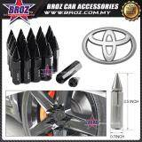 Broz Toyota High Quality Aluminum Universal M12 x P1.5 Wheel Nut - Black (20PCS)
