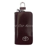 Toyota High Quality Premium Leather Car Key chain Key Holder Bag Dark Brown Zipper Case Remote Wallet Bag