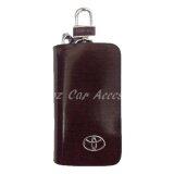 Toyota High Quality Premium Leather Car Key chain Key Holder Bag Dark Brown Zipper Case Remote Wallet Bag