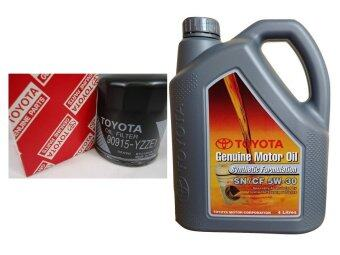 Toyota Oil Filter 90915-YZZE1 + Toyota SN/CF 5W-30 Semi Synthetic Formulation - 4 Litre
