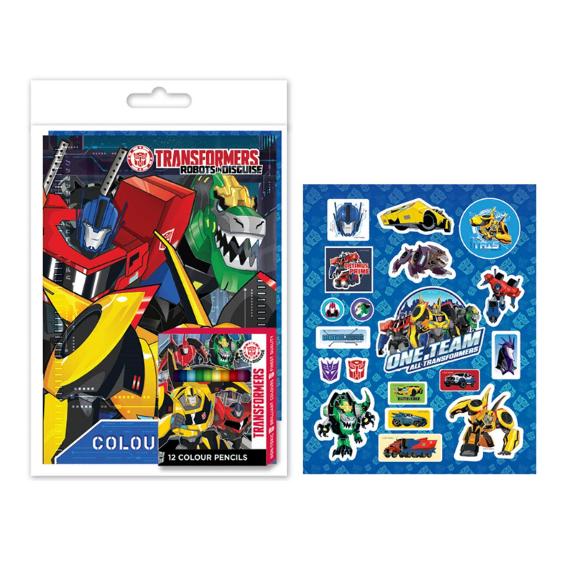 Transformers Colouring Book Set With Sticker - Dark Blue Colour