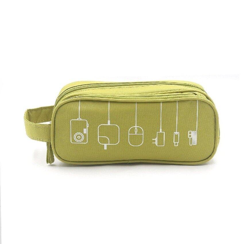 Case 6 Slot Tas Usb Flash Drive Cable Gadget Kabel Pulpen Powerbank Hitam .